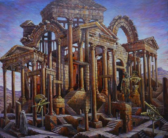 Ruines aberrantes II, huile sur toile, 60x73cm