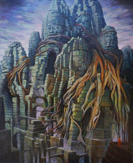 Angkor, huile sur toile, 73x60cm, 2015