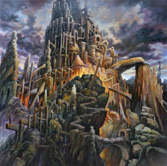 Babel en montagne II, huile sur toile, 100x100cm, 2017