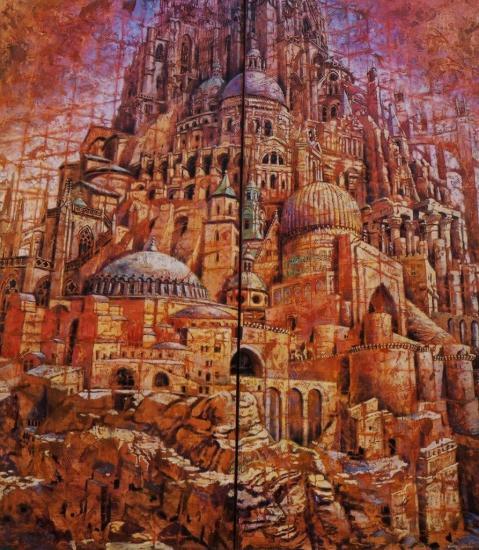 Babel IX, huile sur toile, 120x104cm, 2002