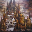 Babel maritime, huile sur toile, 100x100cm, 2016