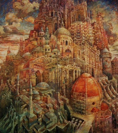 Babel V, huile sur toile, 183x166cm, 2001