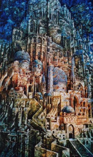 Babel VII, huile sur toile, 172x104cm, 2001