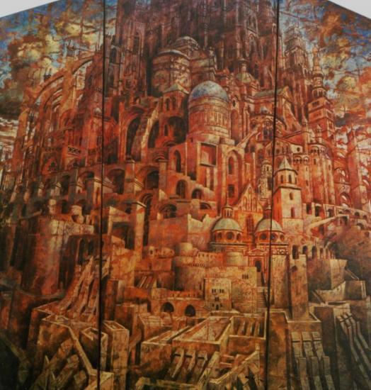 Babel VIII, huile sur toile, 192x177cm (triptyque), 2001