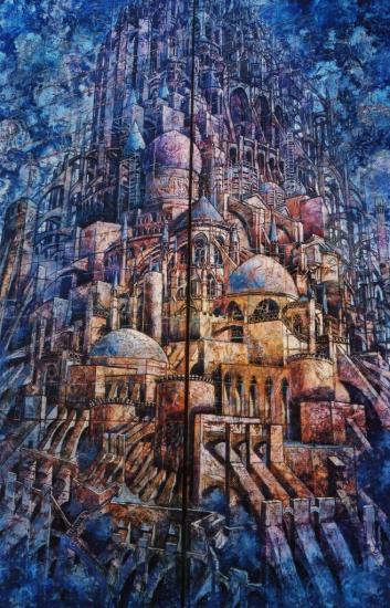 Babel XI, huile sur toile, 157x105cm, 2003