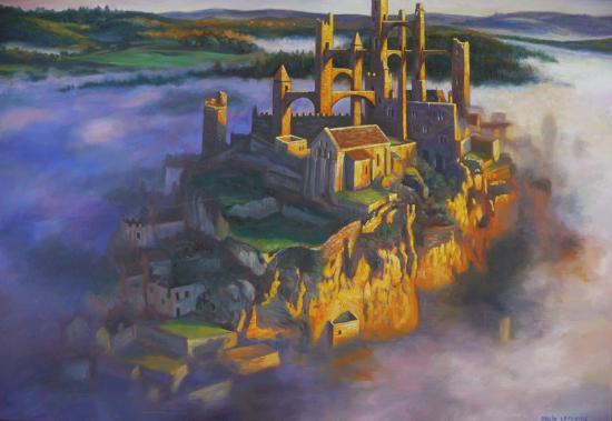 Château dans la brume, huile sur toile, 38x55cm, 2017