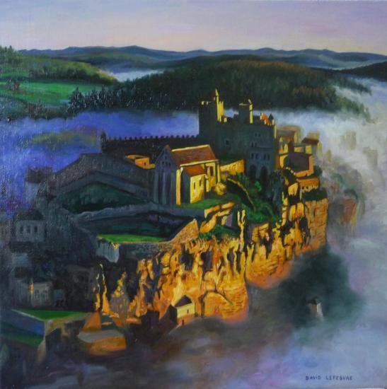 Château de Beynac, huile sur toile, 30x30cm