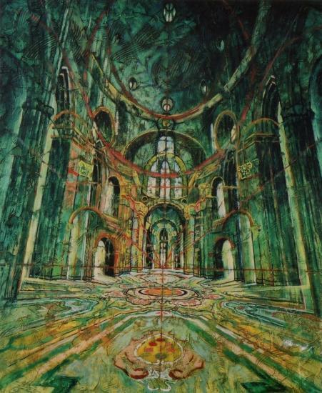 Espace vert, huile sur toile, 65x54cm, 2002