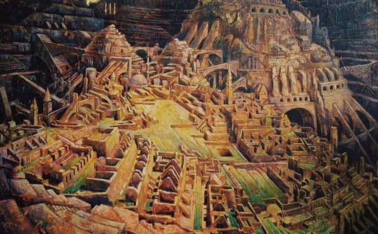 Faubourgs de Babel II, huile sur toile, 65x100cm, 2002