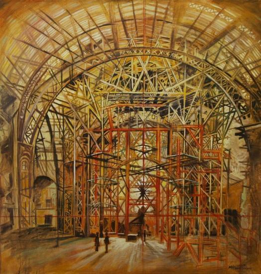 Hyperstructure, huile sur toile, 100x100cm, 2010