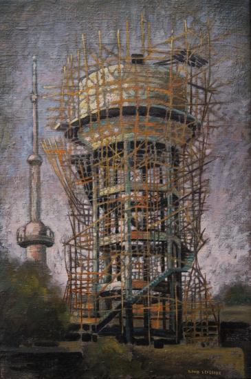 Chateau d'eau, Gwalior, Inde, huile sur toile, 45x30cm, 2007