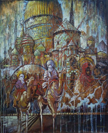 Jesus et Mahomet II, huile sur toile, 73x60cm, 2008