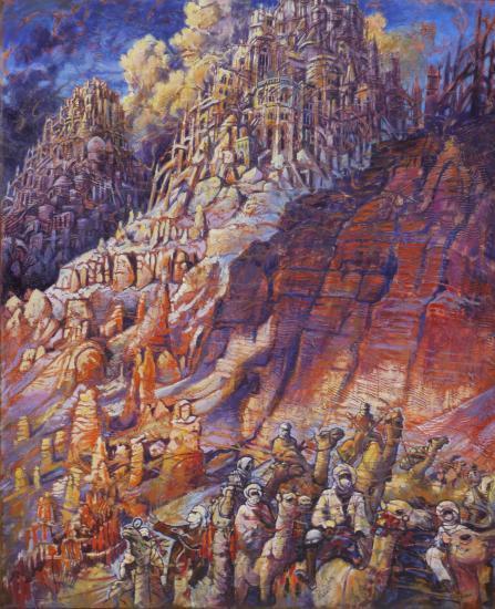 Les trois tours, huile sur toile, 73x60cm, 2009
