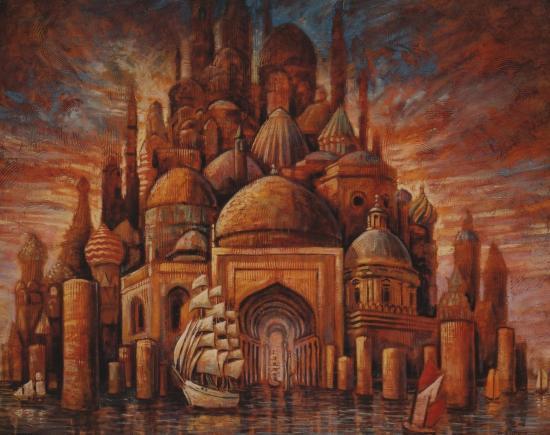Petite Babel maritime, huile sur toile, 73x92cm, 2012