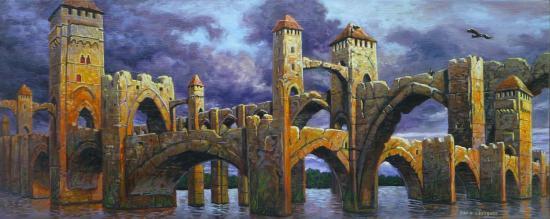 Le pont, huile sur toile, 20x50cm, 2016