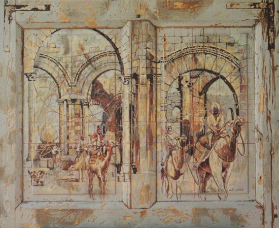 Nomades, huile sur bois, 70x100cm, 2003