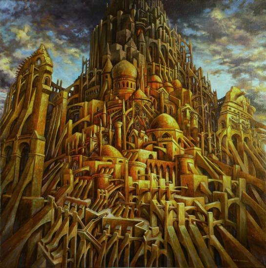 Petite Babel, huile sur toile, 70x70cm, 2013