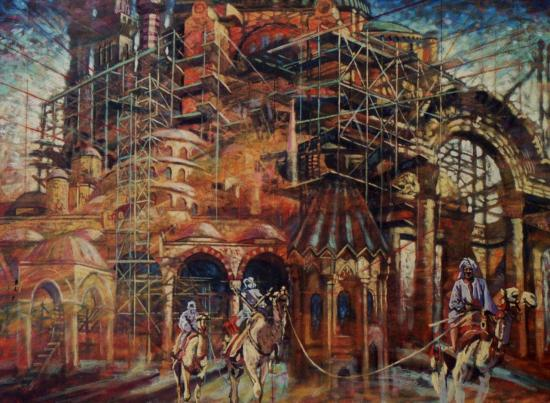 Palais dans le désert, huile sur toile, 54x73cm, 2001