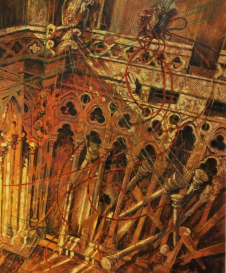 Petit cloître gothique, huile sur toile, 65x54, 2002