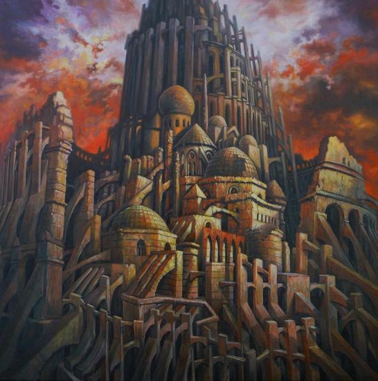 Petite Babel rouge, huile sur toile, 60x60cm, 2011