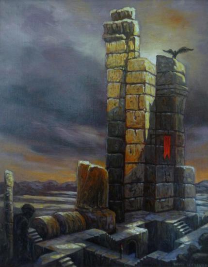 Ruines aberrantes, huile sur toile, 25x20cm, 2016