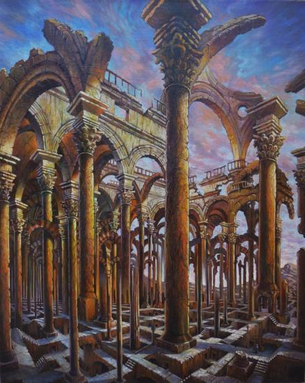 Ruines aberrantes I, huile sur toile, 81x65cm