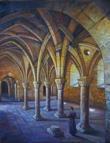 Salle capitulaire, huile sur toile, 35x27cm
