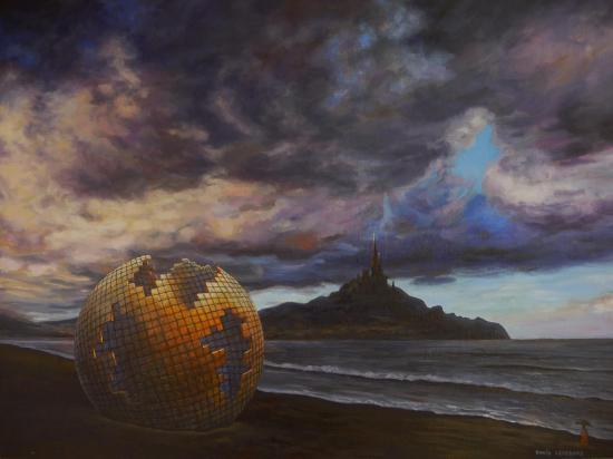 Sphère quantique, huile sur toile, 46x61cm, 2017