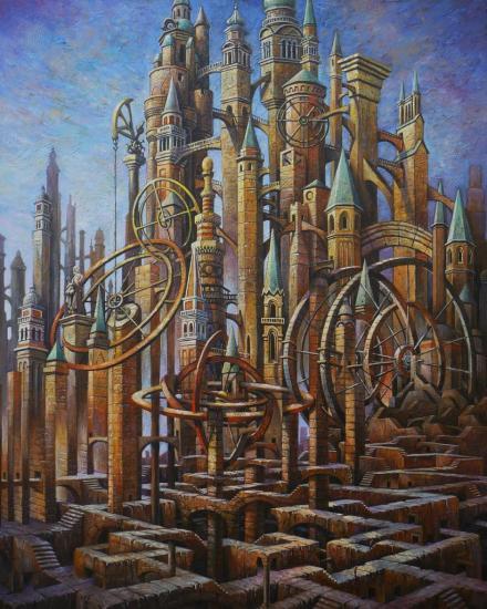 Des tours et détours, huile sur toile, 81x65cm
