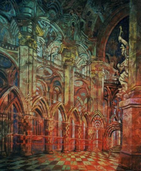 Une galerie dans Babel, huile sur toile, 65x54cm, 2002